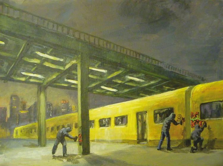Nacht, Metro, Stadt, Graffiti, Brücke, Dunkel