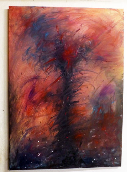 Tod, Rot schwarz, Abstrakt, Surreal, Acrylmalerei, Schrei