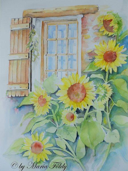 Fenster, Blumen, Sonnenblumen, Aquarell, Idylle