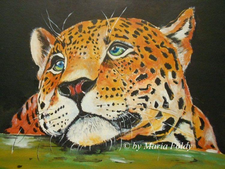 Katze, Asien, Wildkatze, Leopard, Malerei, Landschaft