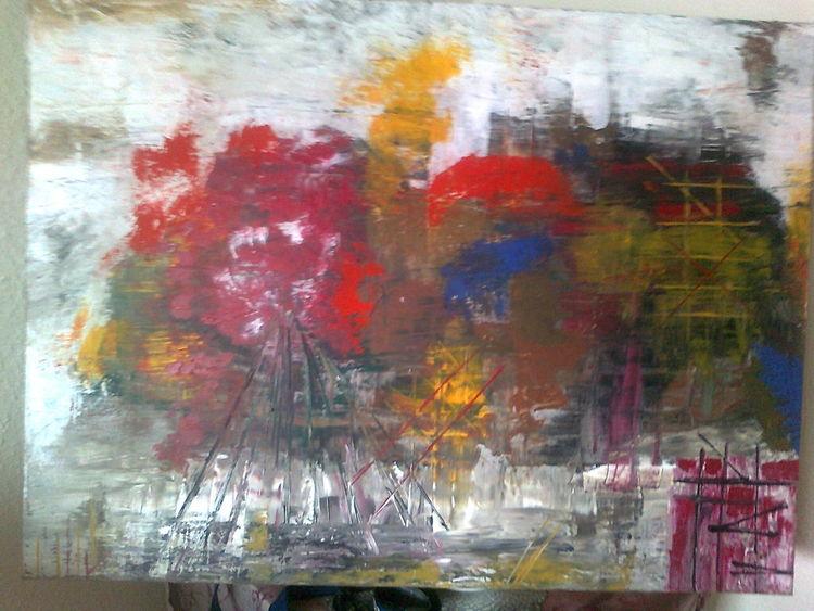 Acrylmalerei, Collage, Ölmalerei, Spachteltechnik, Malerei, Nebel
