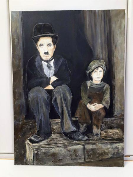 Pastellmalerei, Kind, Chaplin, Acrylmalerei, Malerei,