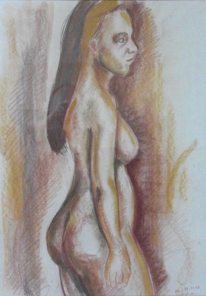 Akt, Kreidezeichnung, Figurativ, Zeichnungen
