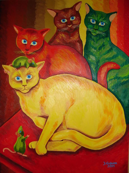 Maus, Blick, Katze, Malerei