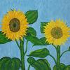 Malerei, Sonnenblumen, Garten