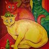 Katze, Maus, Blick, Malerei
