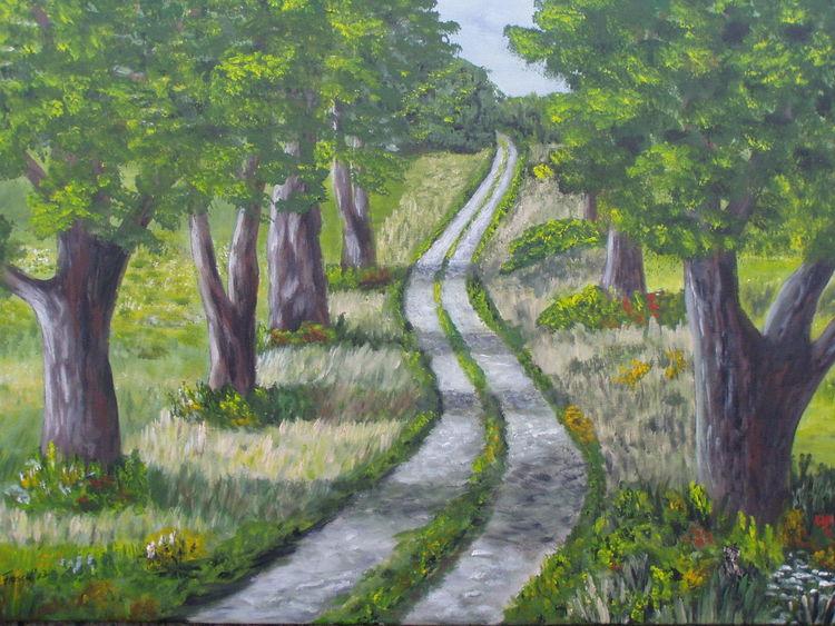 Weg, Baum, Licht, Malerei, Allee