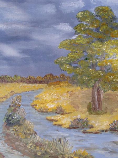 Stimmung, Herbst, Himmel, Baum, Wasser, Malerei