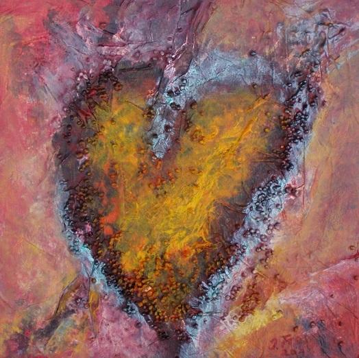 Herz, Rot, Struktur, Licht, Gelb, Malerei