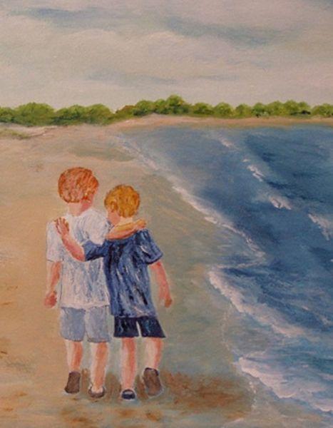 Wasser, Kinder, Strand, Brandung, Malerei, Freundschaft