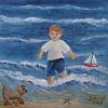Welle, Kind, Strand, Kinderportrait
