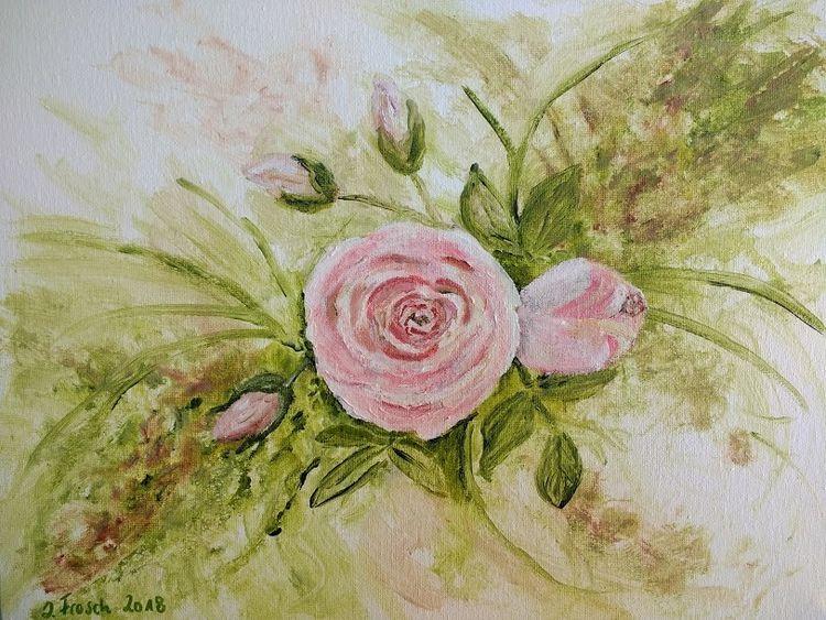 Rose, Rosa, Pflanzen, Blumen, Malerei