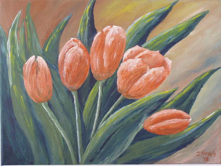Blumen, Struktur, Blätter, Tulpen, Grün, Malerei