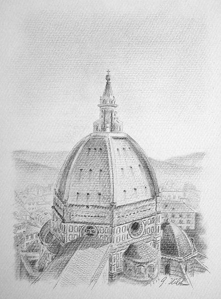Bleistiftzeichnung, Dom, Florenz, Zeichnung, Zeichnungen