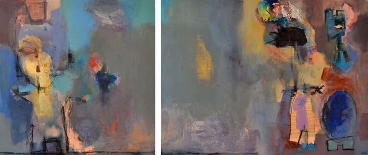 Figur, Familie, Diptychon, Abstrakt, Malerei