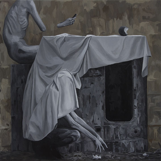 Surreal, Portrait, Schwarz, Figural, Malerei, Acrylmalerei