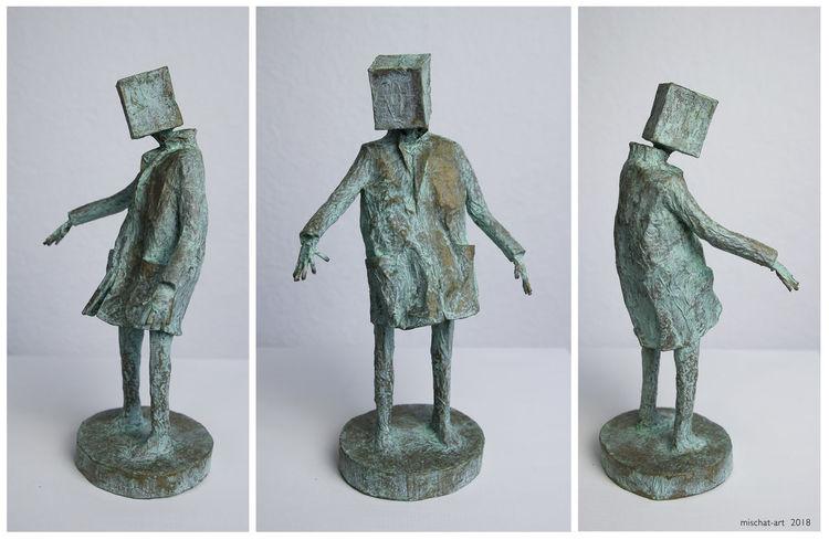 Surreal, Kubus, Skulptur, Figural, Plastik, Wind