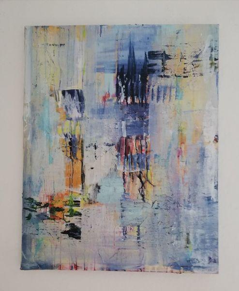 Komposition, Vertikal, Blau, Informel, Malerei