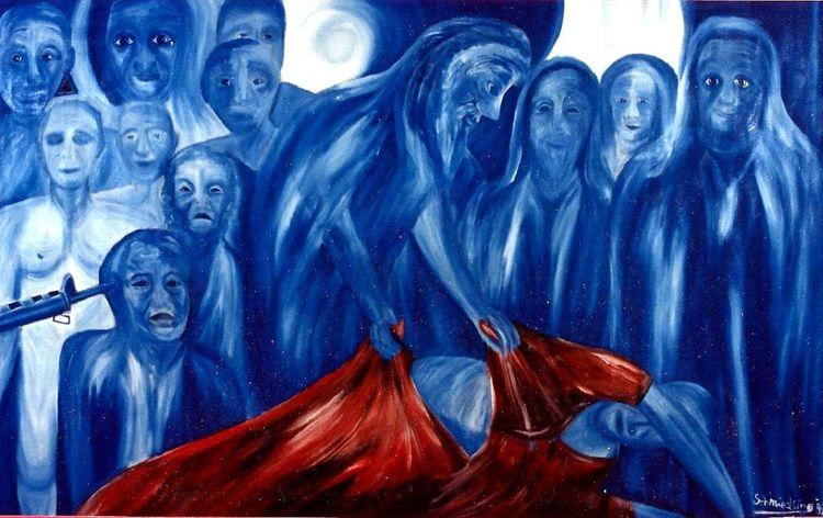 Zerrissenheit, Wiederkehr, Eintauchen, Maske, Blau, Menschen