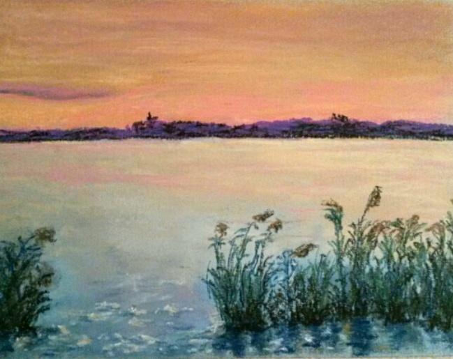 Wasser, Fluss, Elbe, Silhouette, Schilf, Zeichnungen