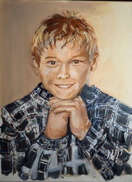Portrait, Junge, Ölmalerei, Lächeln, Malerei
