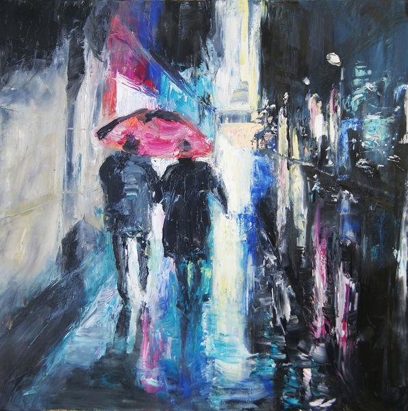 Rot, Blau, Figural, Malerei, Ölmalerei