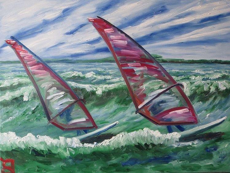 Surfen, Meer, Arbeit, Malerei