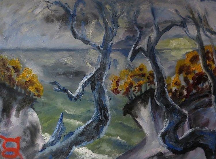 Küste, Meer, Wolken, Malerei, Sonnenaufgang,
