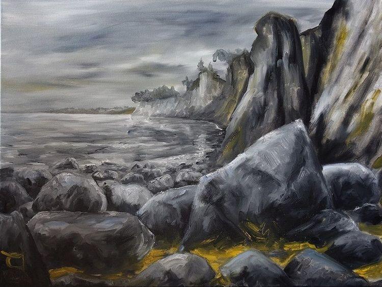 Ostsee, Küste, Stein, Sand, Malerei