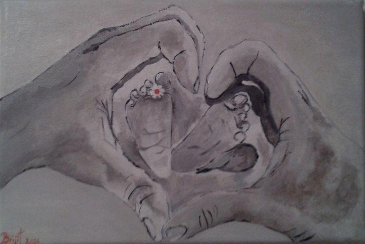 Kind, Acrylmalerei, Babyfusse, Hände, Malerei, Baby