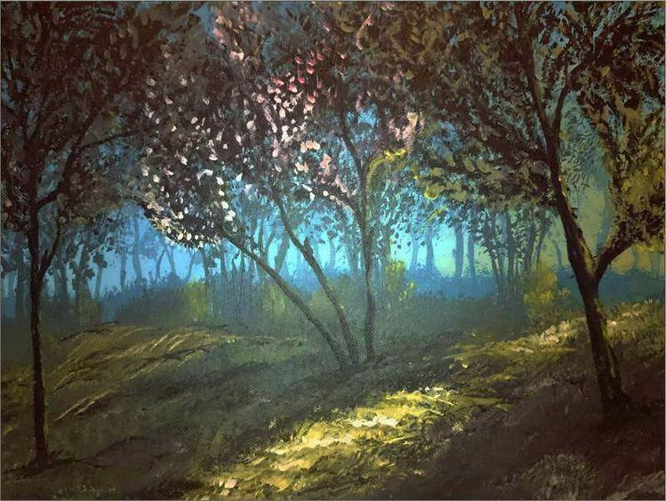 Nebel, Acrylmalerei, Wald, Landschaft, Natur, Nebelwald