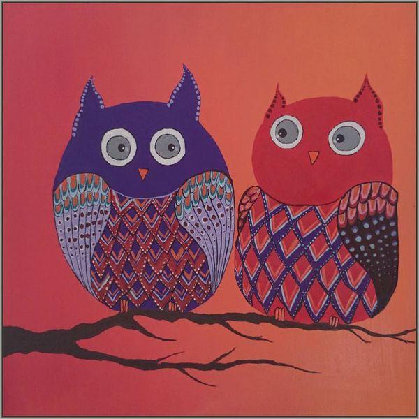 Gemälde, Vogel, Acrylmalerei, Uhu, Abstrakt, Malerei