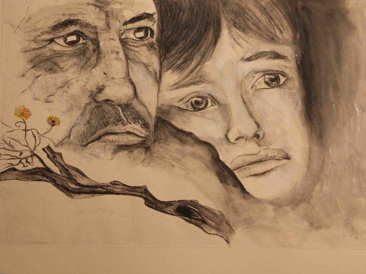 Vater, Schwarz weiß, Zeichnung, Portrait, Sohn, Zeichnungen