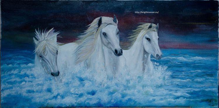 Blau, Schwarz, Malerei, Natur, Wasser, Pferde