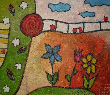 Spatz, Blumen, Traurig, Malerei, Wellensittich