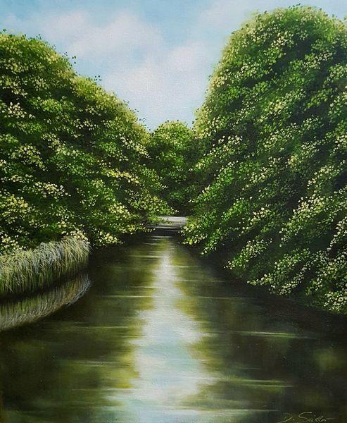 Am kanal, Schilf, Baum, Himmel, Landschaft, Malerei
