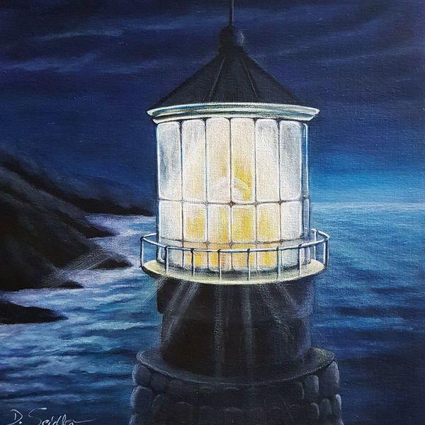 Nacht, Leuchtturm, Malerei