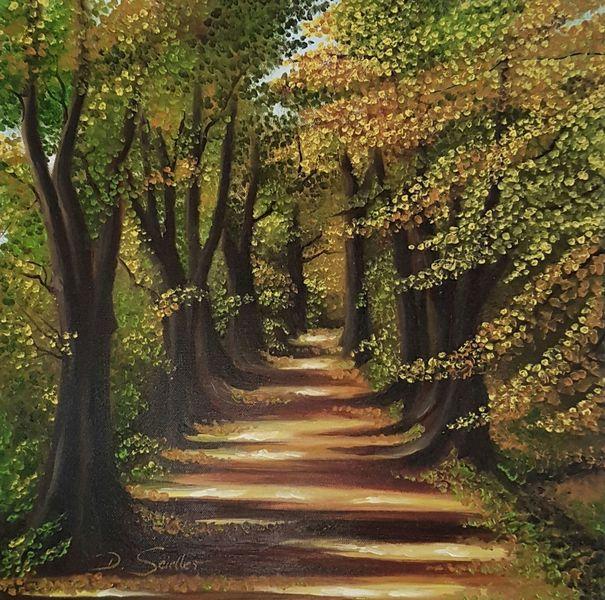 Licht, Herbst, Wald, Weg, Malerei,