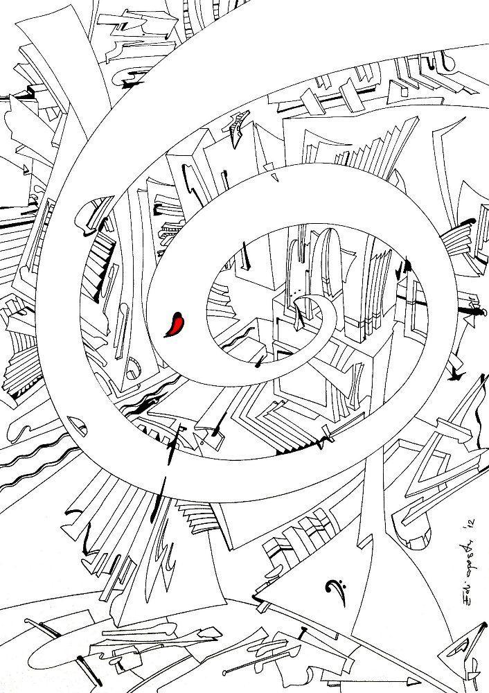 spiral of time. f clef - zeit, abstrakt, notenschlüssel