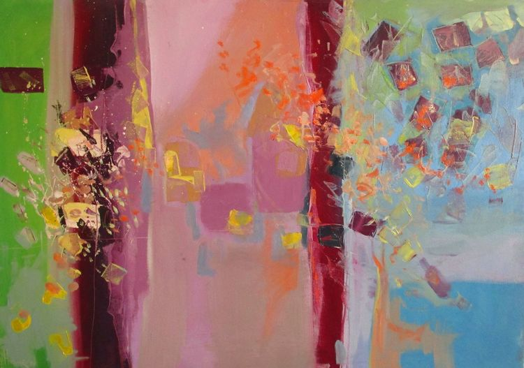 Sommer, Abstrakt, Rot, Pink, Oil on canvas, Blau