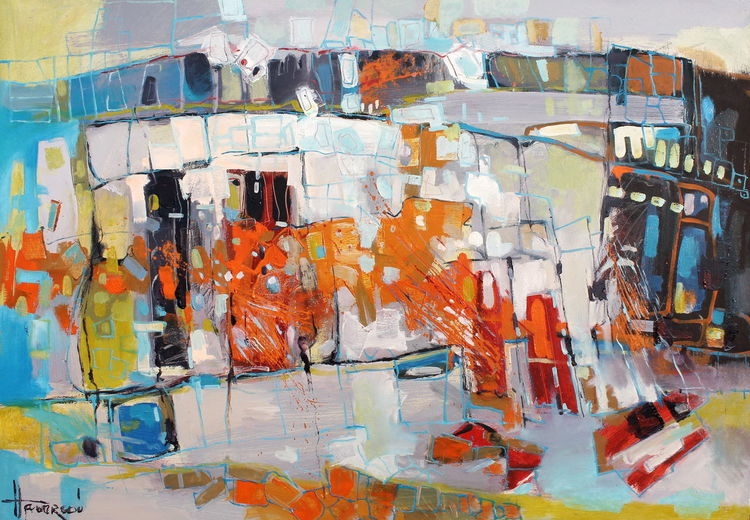 Abstrakt, Blau, Monako, Interior design, Orange, Impressionismus