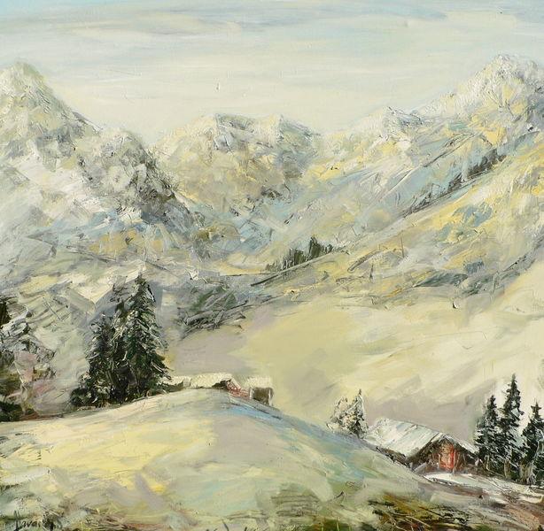 Ölmalerei, Landschaft, Morgen, Gemälde, Berge, Malerei