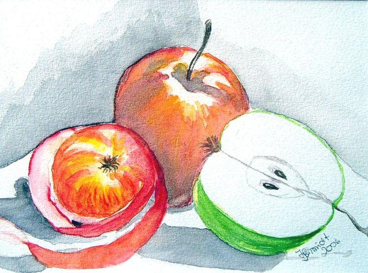 Äpfel aquarell, Aquarell