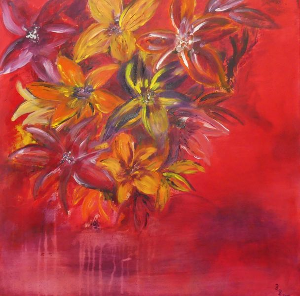 Blüte, Lila, Acrylmalerei, Modern, Pink, Rot