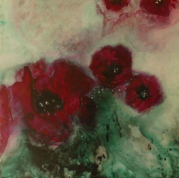 Blumen, Grün, Rot schwarz, Modern, Weiß, Mohn