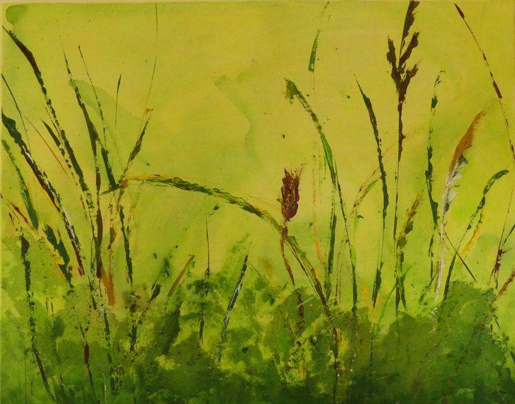 Weiß, Abstrakt, Grün, Wiese, Modern, Gras