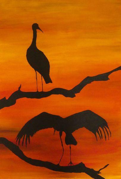 Rot schwarz, Storch, Äste, Orange, Vogel, Abendrot