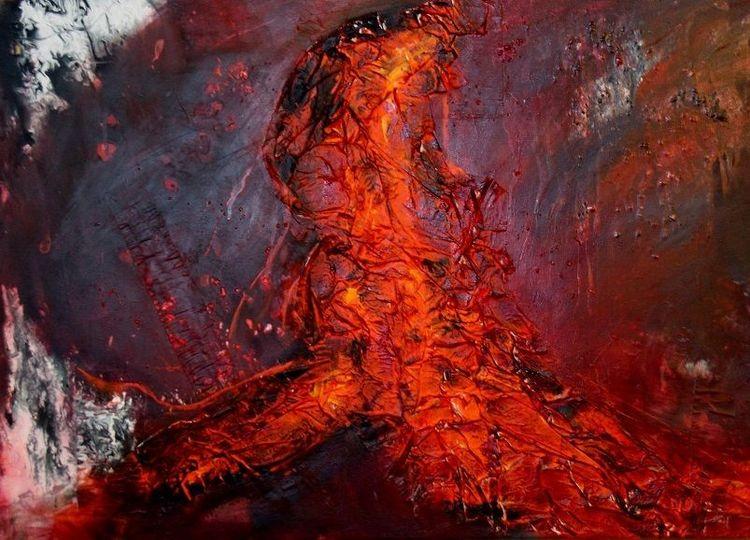 Modern, Eruption, Lava, Heiß, Rot schwarz, Feuer
