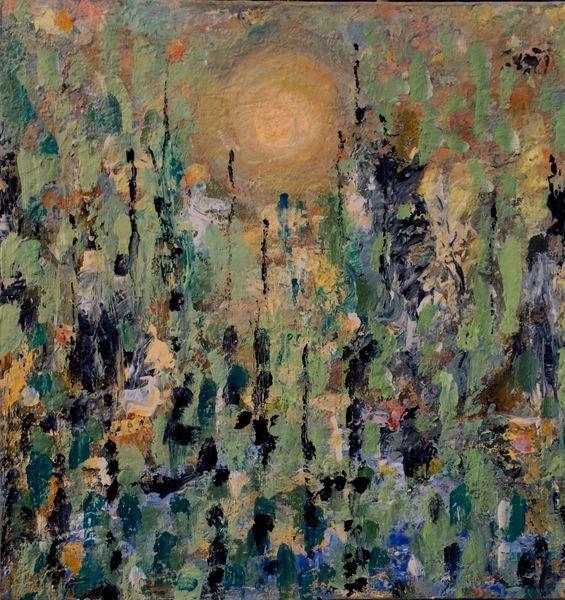 Frühling, Gelb, Grün, Abstrakt, Malerei, Erwachen