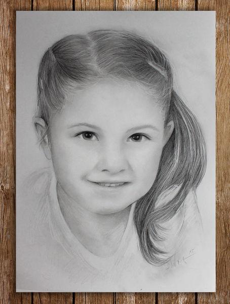 Mädchen, Bleistiftzeichnung, Kind, Niedlich, Zeichnung, Portrait